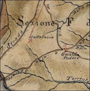 1814, Castelluccio. Catasto Leopoldino, particolare.